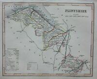 FLINTSHIRE, WALES, original antique map, JOSHUA ARCHER, c.1848