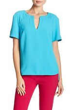 NWT- Trina Turk Pearle Split-Neck Short Sleeve Top, Skinny Dip Aqua - XSmall