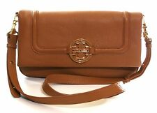 TORY Burch Amanda FOLDOVER Messenger Borsa A Tracolla Pochette ROYAL TAN BROWN RRP £ 380