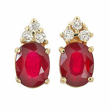 5.0 ctw Ruby & Diamond Earrings set in 14k solid gold