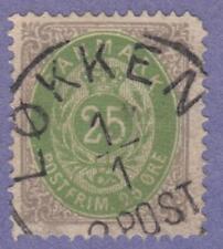 Denmark #32 used 25o bullseye normal frame 1875 pf 14x13.5 cv $40
