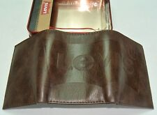 Levi's Men's Wallet Genuine Leather Embossed Trifold Brown New w Tag & Gift Box