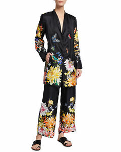 💕$275 JOHNNY WAS ALEXIA FLORAL PRINT BLACK PANTS SZ XL STUNNING NEW LAST PAIR