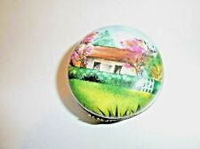 Peint Main Limoges Trinket-Round Box With A Country Scene