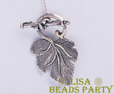 5pcs 37x23mm Silver Style Jewelry Charms Leaf Loose Spacer Beads Anti-silver