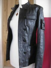 size UK 14 12 Ladies NEXT brown real leather JACKET COAT biker military safari