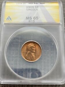 AVC - 1909 LINCOLN WHEAT CENT ANACS MS65 RED