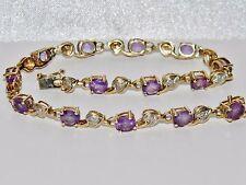 Magnifique 9ct Or Jaune 5.00ct Améthyste & Diamant Femmes Tennis Bracelet