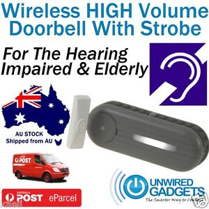 NEW EXTRA LOUD DOORBELL WITH STROBE HEARING IMPAIRED DEAF DIGITAL HEARING AID