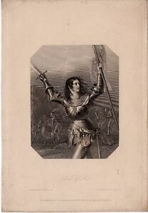 Small 19th Century Etching of Joan of Anc 1837