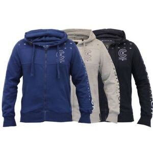 Mens Sweatshirt Crosshatch Hooded Zip Raised Print Fleece Lined Casual Summer