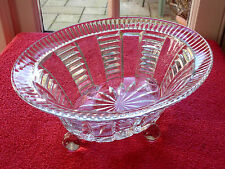 Large Vintage Beautiful Oval Clear Glass Decorative Bowl with Four Ball Legs