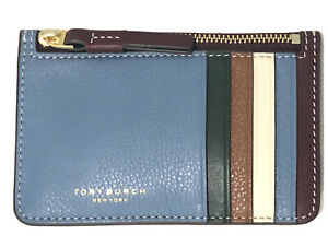 TORY BURCH Perry Color-Block Leather Card Case TOP ZIP Light Umber/Blue Yonder