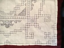 "Vintage Luncheon Madeira Cut Work Table Cloth With Light Blue Thread - 30"" x 29"""