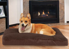 Furhaven Pet Dog Bed Deluxe Snuggle Terry/Suede Pillow Espresso Cushion, Large