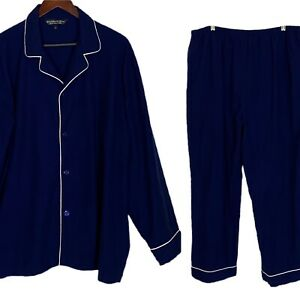 ALEXANDER DEL ROSSA Pajamas Flannel Blue with White Piping Pockets Cozy Sz XL