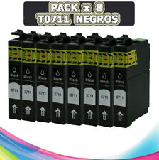 8 NEGROS COMPATIBLE T0711 T0891 NON OEM PARA IMPRESORA EPSON STYLUS BX300F SX115