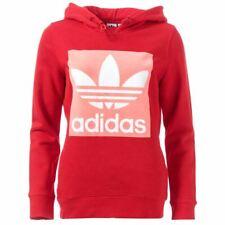 Women's adidas Originals Trefoil Regular Fit Hoodie Sweatshirt in Red