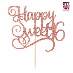 Rose Gold Glitter Happy Sweet 16 Cake Topper, Birthday Party Decorations Supplie
