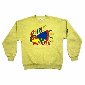 Spirit Don't Fear It Sweatshirt | Vintage 90s Retro Colourful Jumper Yellow VTG