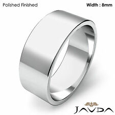 Wedding Band Women Flat Pipe Cut Plain Solid Ring 8mm Platinum 11.2gm Sz 6-6.75