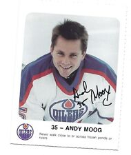 RARE 1986-87 OILERS ANDY MOOG   RED ROOSTER  CARD