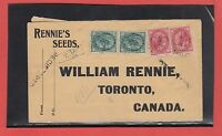 Maple Leaf QV issue Registered Rennie Seed's 1898 b/s Canada cover
