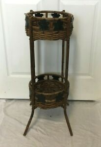 """Antique Vintage Wicker Rattan Bamboo Metal Leafs Around 2 Tier Plant Stand 30.5"""""""