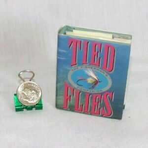 """Miniature Dollhouse Readable Fly Fishing Flies Book Dust Jacket 2.25"""" Tiny Tomes"""