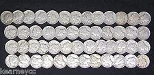1939 MERCURY DIMES VERY FINE VF - XF EXTRA FINE FULL ROLL 50 SILVER COINS