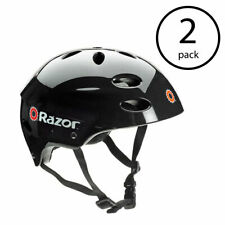 Razor V17 Youth Skateboard Scooter Bike Sport Helmet, Glossy Black (2 Pack)