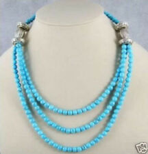 Beautiful Tibet silver 6mm turquoise round beads necklace