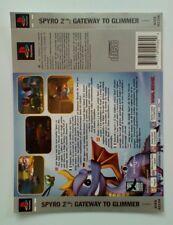 Incrustación de espalda * SOLAMENTE * Spyro 2 Gateway a reflejarse atrás embutido PS1 Psone Playstation