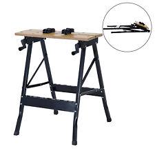 HOMCOM Foldable Workbench Portable Table Carpenter Workshop Clamping Adjustable