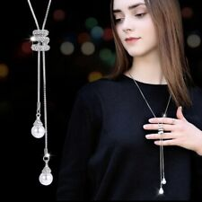 Nataliya Silver Adjustable long sweater chain crystal pearl necklace for women