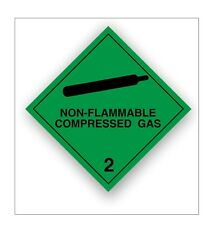 2 x Non Flammable compressed gas warning stickers Hazchem Safety self adhesive