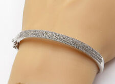 925 Sterling Silver - Genuine Diamonds Shiny Smooth Oval Bangle Bracelet - B7520