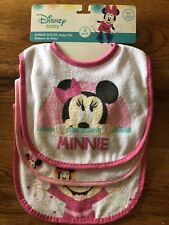 3-Pack Disney Baby Minnie Mouse Bibs Terry Cloth 0+ Months, Pink Trim