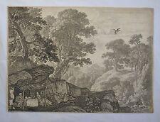 Belle Eau Forte Originale XVIIème par Herman van Swanevelt - Paysage d'Italie 3