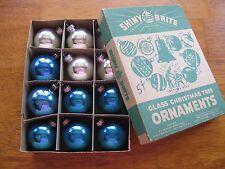 Box of 12 Small Blue Silver  Mercury Glass Ornaments in box
