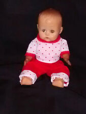 "Doll 8"" Rubber baby movable arms and legs No Markings Red & white outfit"