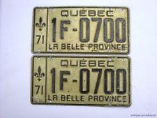 1971 QUEBEC Vintage License Plate PAIR # 1F-0700