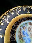 Vintage M Z Czechoslovakia underglaze cobalt  porcelain plate  w. 24 KT gold