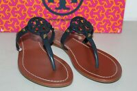 NIB TORY BURCH MINI MILLER FLAT THONG LEATHER SANDALS 7 FLIP FLOPS NAVY