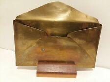 Brass Letter /Napkin Holder with Wooden Base 📫✉🗳