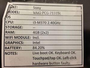 Sony Vaio PCG-71315L *Parts/Repair* i3/4GB/BATT - No OS/HDD/CHRG