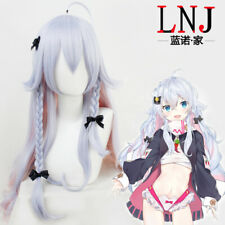 Kagura Nana Vtuber Cosplay Costume Wig Light Blue Gradient Light Pink Curly Hair