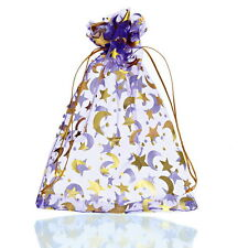 25PCs 13cm x18cm Purple Moon&Star Organza Gift Bags Pouches Wedding/Christmas