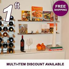 1ft ultraLedge Stainless Steel Floating Shelf Picture Ledge, Photo Art Display