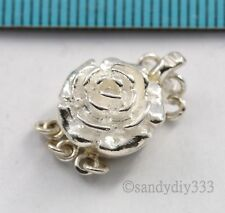1x STERLING SILVER 2-STRAND FLOWER BOX CLASP 11mm #1849